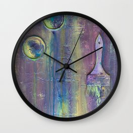 Purple Artist Brushes Wall Clock