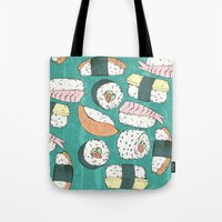 sushi Tote Bags featuring Sushi by Abi Woodhouse