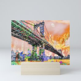 New York City Manhattan Bridge Gold Mini Art Print
