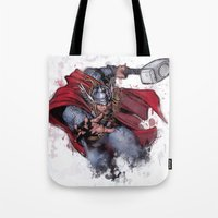 thor Tote Bags featuring Thor by Isaak_Rodriguez