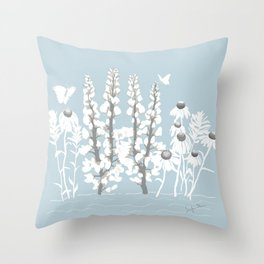 Wildflowers In White on Blue/Grey Background Throw Pillow