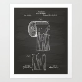 Toilet Paper Roll 1891 Patent Art Illustration Chalkboard Art Print
