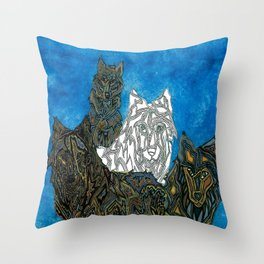 One of these wolves aten't like the other Throw Pillow
