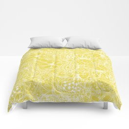 Modern trendy white floral lace hand drawn pattern on meadowlark yellow Comforters
