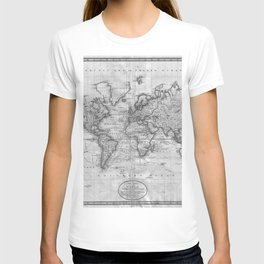 Black and White World Map (1801) T-shirt