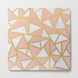 Pink Gold and Marble Geometric Triangles Art Deco Metal Print