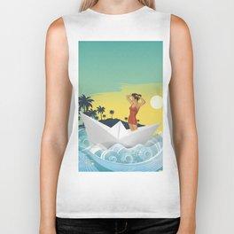 Girl in Boat Collage Biker Tank