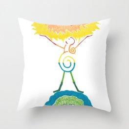Rainbow Goddess Universe, Sun, and Earth Throw Pillow