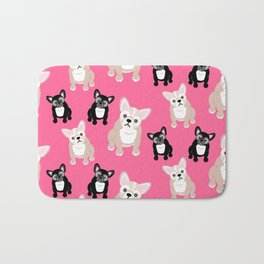 French Bulldog Puppies Pink Bath Mat