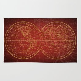 Antique Navigation World Map in Red and Gold Rug
