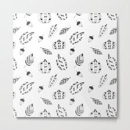 Hand drawn black white tribal geometrical pumpkin floral Metal Print