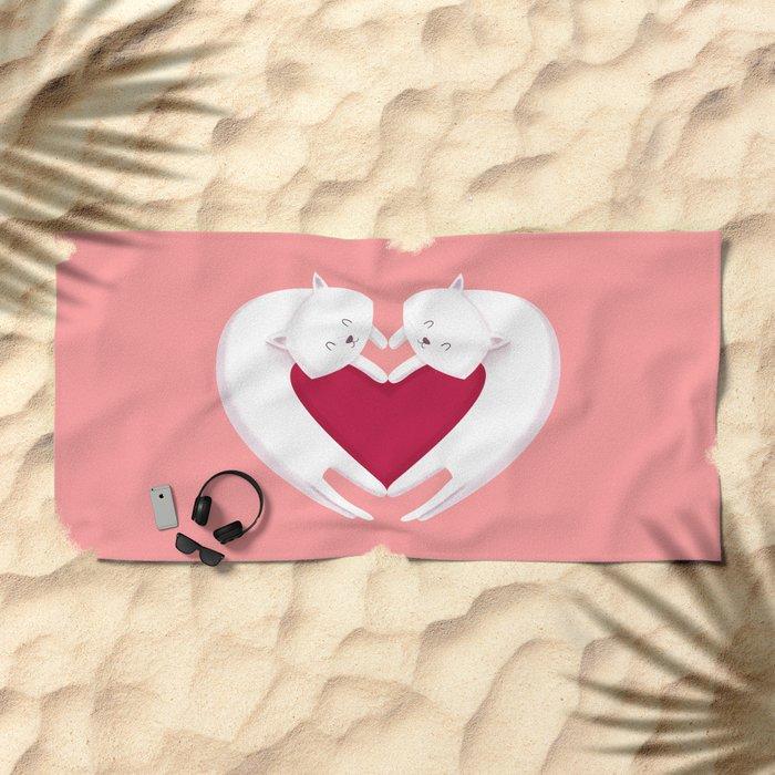 Love Cats Beach Towel