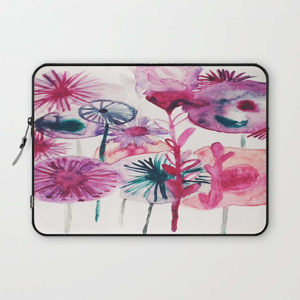 Vibrant Abstract Pink Flower Watercolor Design Ii Laptop Sleeve LSV8013083