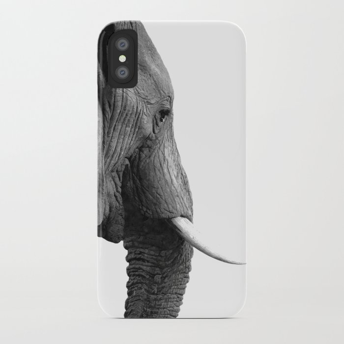 Black and white elephant portrait iPhone Case