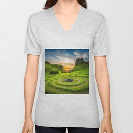 Fairytale Landscape, Isle of Skye, Scotland Unisex V-Neck