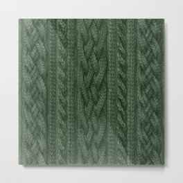 Pine Green Cable Knit Metal Print