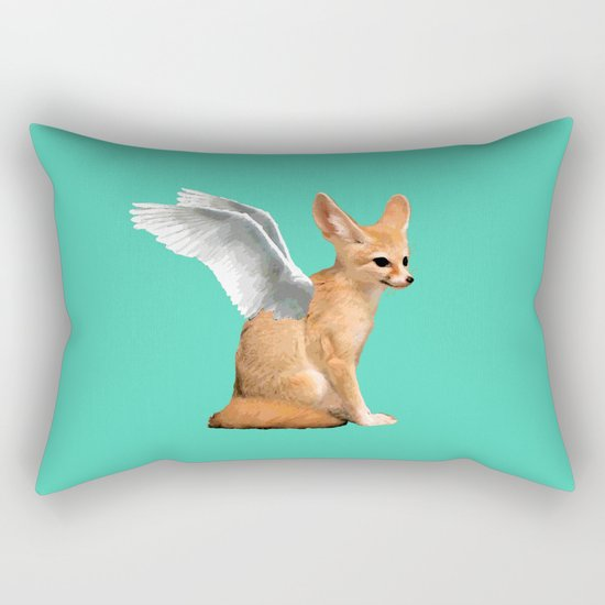 Winged Fennec Fox Rectangular Pillow