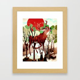Deer In The Works Framed Art Print