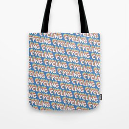 Cycling Trendy Rainbow Text Pattern (Blue) Tote Bag
