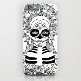 La Calavera Catrina Sugar Skull Ink Drawing iPhone Case