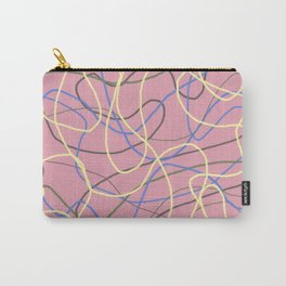 Mad and Crazy Curving Lines on Pink Carry-All Pouch