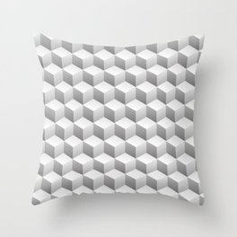 Isometric 3D Cubes Repeating Pattern Throw Pillow