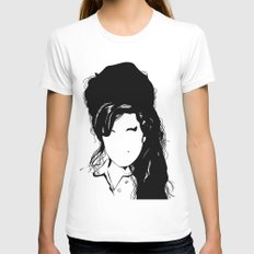 Amy back to just black White MEDIUM Womens Fitted Tee