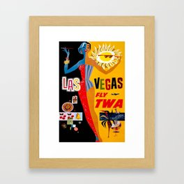 Las Vegas Travel Vintage Poster Framed Art Print