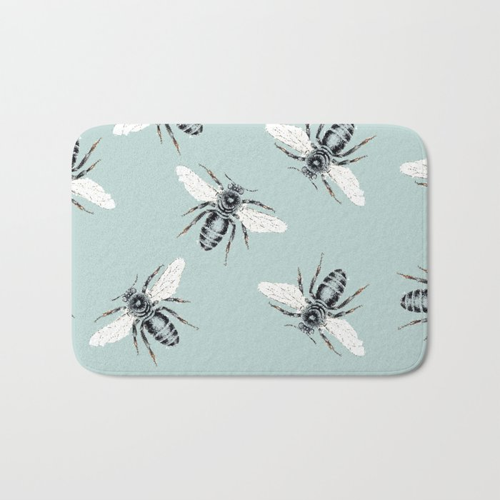 bees on blue Bath Mat