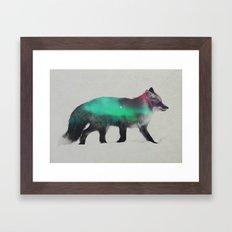Fox In The Aurora Borealis Framed Art Print