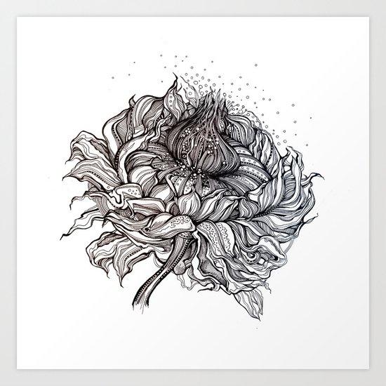 Flower (black and white) Art Print