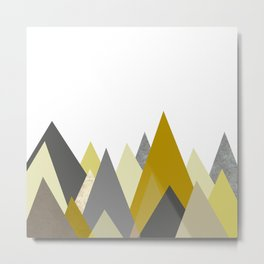 Mountains Mustard yellow Gray Neutral Geometric Metal Print
