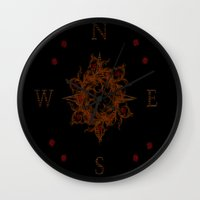 compass Wall Clocks featuring Compass by Amanda Letterman