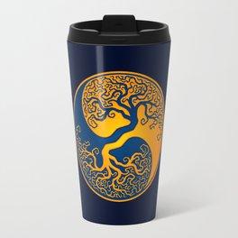 Blue and Yellow Tree of Life Yin Yang Travel Mug