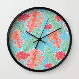 Tropical Hibiscus Watercolor in Aqua Sea Wall Clock
