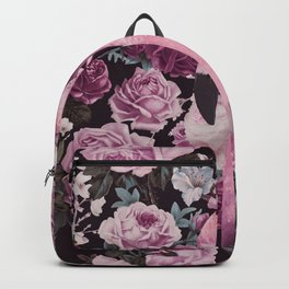 Pink Vintage Roses And Flamingo Backpack