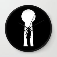secret life Wall Clocks featuring The Secret by Tobe Fonseca