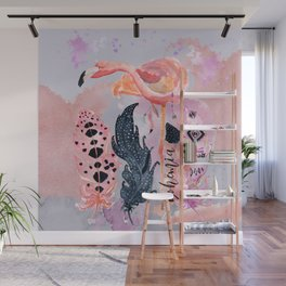 Smart Flamingo with Feathers Wall Mural