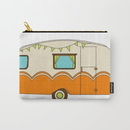 Bright and Cheery Camper Retro Trailer Carry-All Pouch