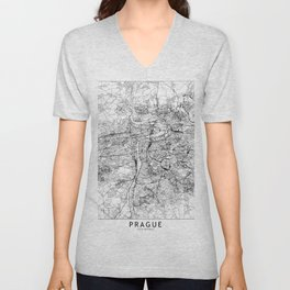 Prague White Map Unisex V-Neck