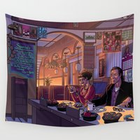 miley Wall Tapestries featuring Diner Scene by David Miley