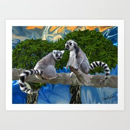 Playful Lemur-ick  Art Print