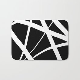 Geometric Line Abstract - Black White Bath Mat
