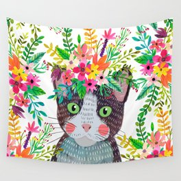 Cat with flowers Wall Tapestry