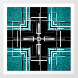 Teal Black and White Line Abstract Art Print