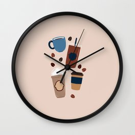 Coffee Love - Brown and blue palette Wall Clock