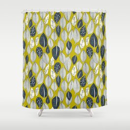 leaves and feathers chartreuse Shower Curtain