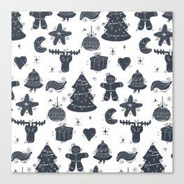 Grey Christmas Objects Decor Canvas Print