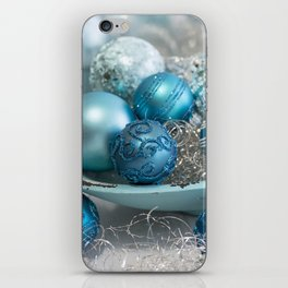 Blue  turquoise christmas baubles and bowl iPhone Skin