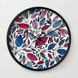 Floral Leaf Watercolor Illustration *P07 015 Wall Clock
